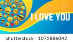 i love you  label with emoji or ... | Shutterstock .eps vector #1072886042