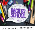 back to school vector banner... | Shutterstock .eps vector #1072898825