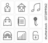 set of 9 simple editable icons... | Shutterstock .eps vector #1072899062