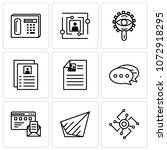 set of 9 simple editable icons... | Shutterstock .eps vector #1072918295