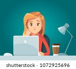illustration with sad girl with ... | Shutterstock .eps vector #1072925696