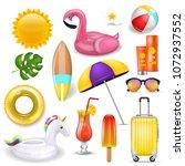 realistic 3d vector summer... | Shutterstock .eps vector #1072937552