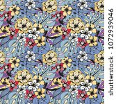 seamless pattern with tropical... | Shutterstock .eps vector #1072939046