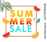 summer sale banner design with... | Shutterstock .eps vector #1072940438