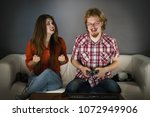 woman is mad at her boyfriend... | Shutterstock . vector #1072949906
