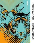 design poster with a tiger's... | Shutterstock .eps vector #1072955882
