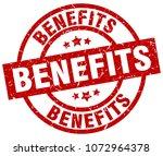 benefits round red grunge stamp | Shutterstock .eps vector #1072964378