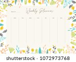 cute vector weekly planner... | Shutterstock .eps vector #1072973768
