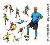 soccer player set with the... | Shutterstock .eps vector #1072983005