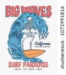 the surfer skeleton... | Shutterstock .eps vector #1072991816