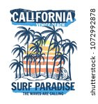 california  venice beach theme... | Shutterstock .eps vector #1072992878