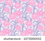 victorian style pattern with... | Shutterstock .eps vector #1073000432