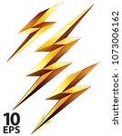 lightning bolt set. vector 3d... | Shutterstock .eps vector #1073006162
