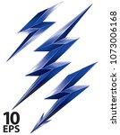 lightning bolt set. vector 3d... | Shutterstock .eps vector #1073006168