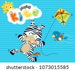 Stock vector playing kite with funny animals at summer zebra and bird on striped background vector cartoon 1073015585