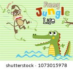 jungle story with monkey and... | Shutterstock .eps vector #1073015978