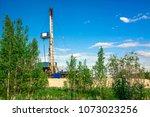 mobile drilling rig for... | Shutterstock . vector #1073023256