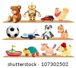 illustration of various toys on ... | Shutterstock .eps vector #107302502