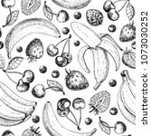 summer fruit seamless pattern.... | Shutterstock .eps vector #1073030252