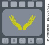 two hands vector icon on a gray ...