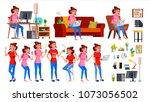 freelancer worker vector. woman.... | Shutterstock .eps vector #1073056502