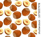 nuts hazelnuts cartoon.... | Shutterstock . vector #1073057978