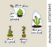 set of sticker with cactus in... | Shutterstock .eps vector #1073076845
