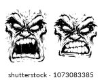 two scary faces rage fury... | Shutterstock .eps vector #1073083385
