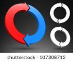 two circular arrows 3d logos. | Shutterstock .eps vector #107308712