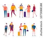 travelers cartoon vector... | Shutterstock .eps vector #1073088188