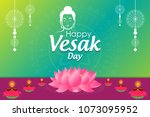 happy vesak day wishes... | Shutterstock .eps vector #1073095952