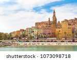 colorful old town and beach in... | Shutterstock . vector #1073098718