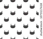 seamless pattern of cartoon cat ... | Shutterstock .eps vector #1073117618