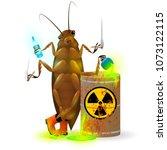 a giant cockroach drinks a...   Shutterstock . vector #1073122115
