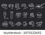 vector set of hand drawn food... | Shutterstock .eps vector #1073122652