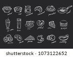 vector set of hand drawn food... | Shutterstock .eps vector #1073122652
