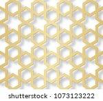 arabic seamless pattern with 3d ... | Shutterstock . vector #1073123222