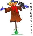 scarecrow and crow | Shutterstock .eps vector #1073143712
