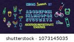 neon summer icons and font set... | Shutterstock .eps vector #1073145035
