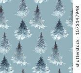 frosty pattern. watercolor...   Shutterstock . vector #1073147948