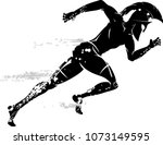 spartan race male running with... | Shutterstock .eps vector #1073149595