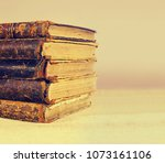 old vintage antique books with... | Shutterstock . vector #1073161106
