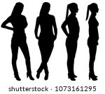 vector silhouette of four... | Shutterstock .eps vector #1073161295