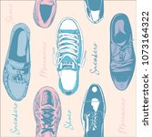seamless pattern of different... | Shutterstock .eps vector #1073164322