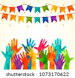 colorful up hands. vector... | Shutterstock .eps vector #1073170622