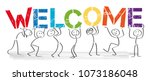 stick figures holding the word... | Shutterstock .eps vector #1073186048