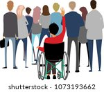 crowd and a man in a wheelchair | Shutterstock .eps vector #1073193662