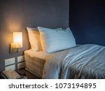 single bed  and two pillows... | Shutterstock . vector #1073194895