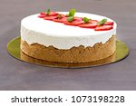 cheesecake with strawberries.... | Shutterstock . vector #1073198228