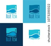 blue fish logo. vector... | Shutterstock .eps vector #1073200322